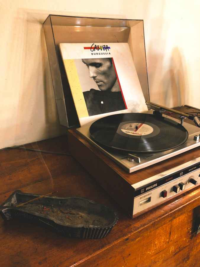 vinyl record in vinyl player on table